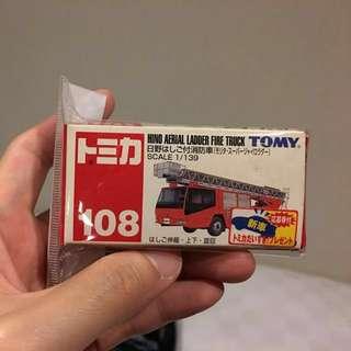 トミカ  No. 108 Hino Aerial Ladder Fire Truck 消防車 初版貼 藍字 TOMY tomica 日版