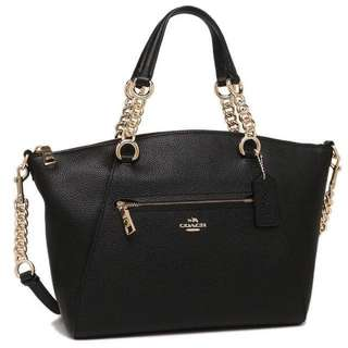 COACH Chain Prairie Satchel in Polished Pebble Leather F59501