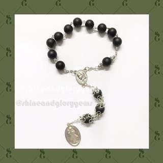 Gelang kaplet rosario Kerahiman Ilahi Koronka dari batu onyx hitam doff