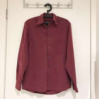 COUNTRY ROAD Vintage Maroon Long-sleeve Button-up Shirt