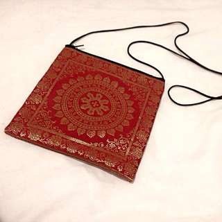 Exotic Indian Tapestry Red and Gold Shoulder Bag