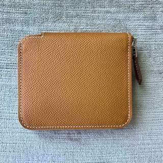 全新 Hermes Compact Short Silkin Silk in Wallet Purse 有放Coins 位 Epsom Leather Toffee Brown