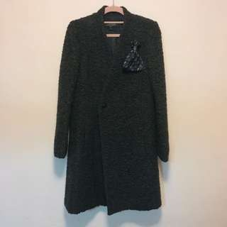 initial wool coat with brooch