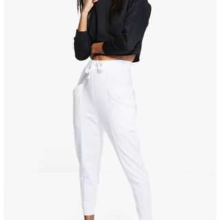 BOOHOO white contrast tracksuit pants