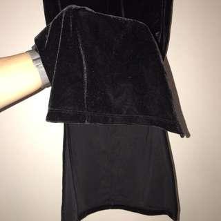 Black velvet midi skirt with splits
