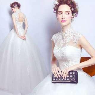 天使佳人婚紗禮服旗袍~~~~~齊地婚紗立領透視蕾絲