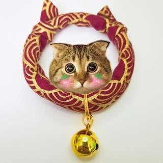Oui.abi Japan Kimono Cat Dog Rabbit Pet Collar - Golden red