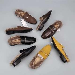 《早·衣服》1111網購節🛍本季必備款超百搭歐美風暖呼呼毛絨絨低跟半拖鞋穆勒鞋(預)