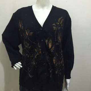 PROSPERITY  black button down fashion sweater large/xl