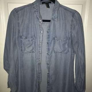 Bottom up denim shirt