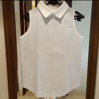 collar stripe blouse