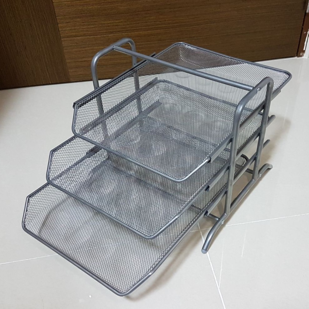 3-Tier in/out A4 Paper-Tray - Durable metal mesh material - Metallic ...