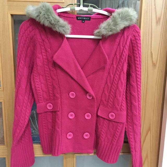 亮桃粉紅色毛毛連帽針織外套