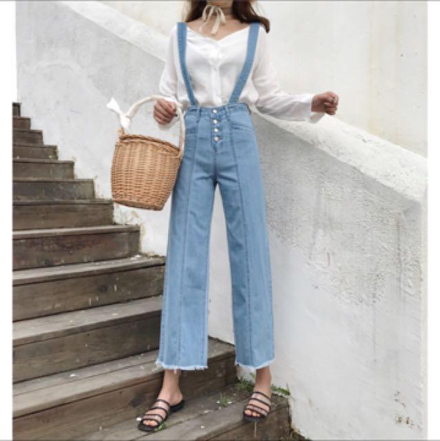 韓版寬鬆高腰牛仔褲