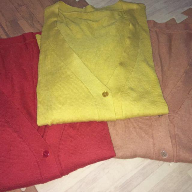 橘紅/霧黃/駝色針織外套
