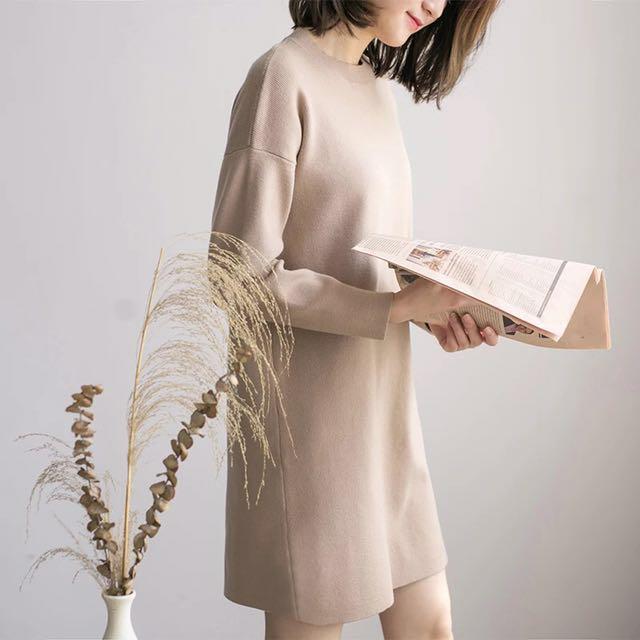 圓領純色針織衣