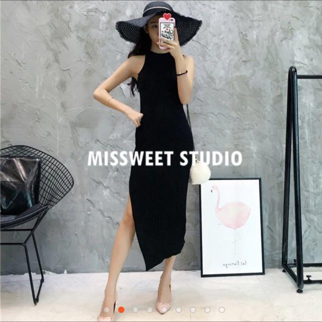 開岔性感長裙、連身裙子(黑)