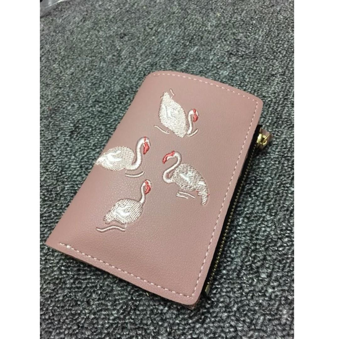 [現貨深粉]紅鶴刺繡小錢包