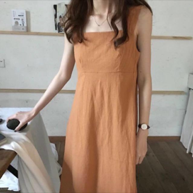 無袖橘子色🍊連身裙