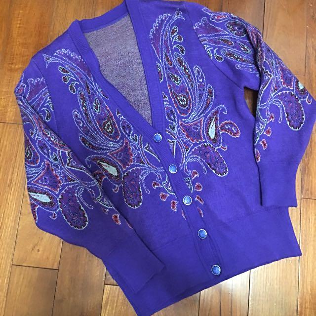 古著針織 紫色變形蟲毛衣外套