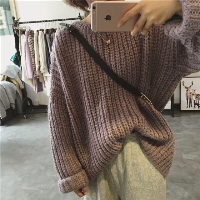 粗針織厚版捲袖針織上衣 保暖