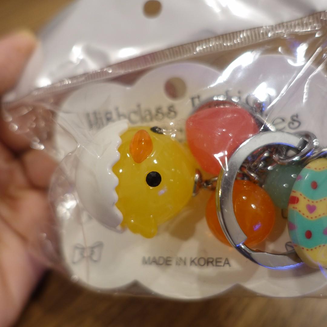 全新  韓國製  旅遊帶回  可愛小雞鑰匙圈