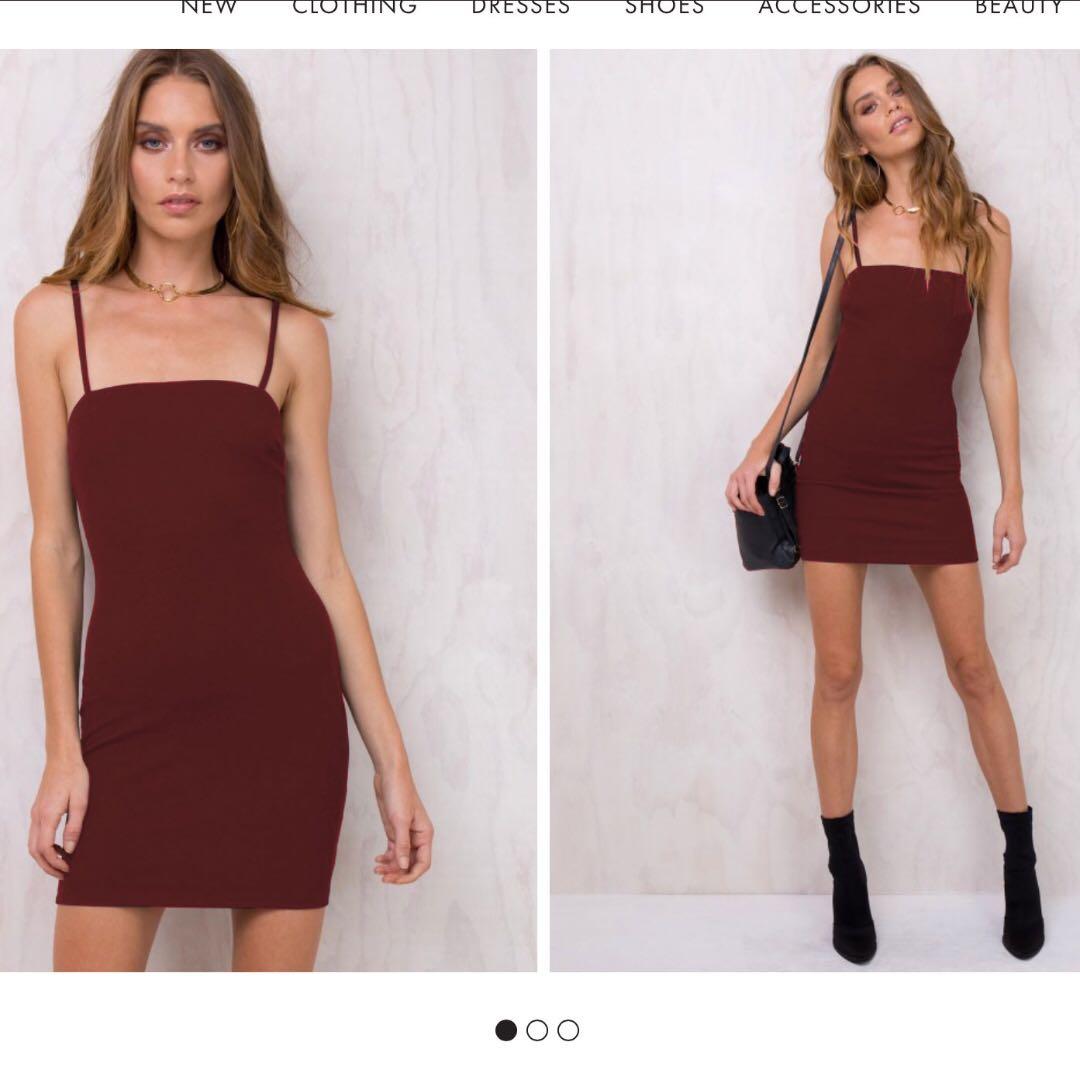 AliveGirl Burgundy Bodycon Square Neck Mini Dress Size 6