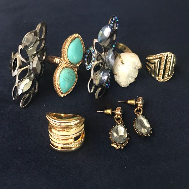Assorted rings and earrings