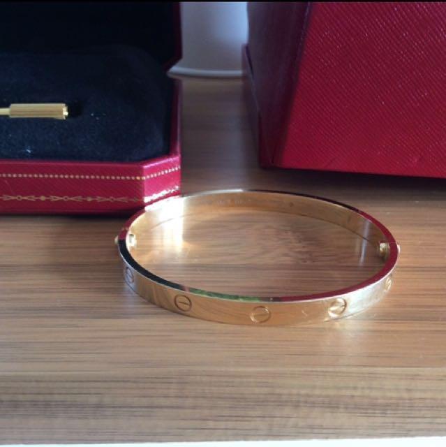Authentic Cartier love yellow gold 18k love bracelet size 20