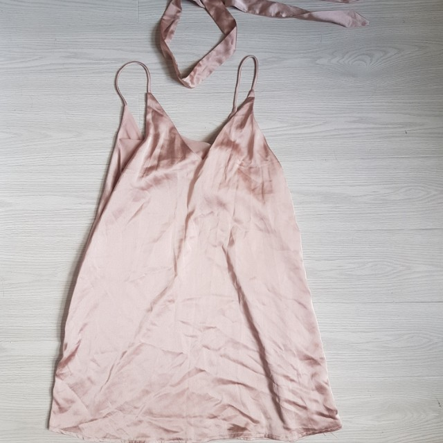 Baby pink slip in dress with choker size 8-10