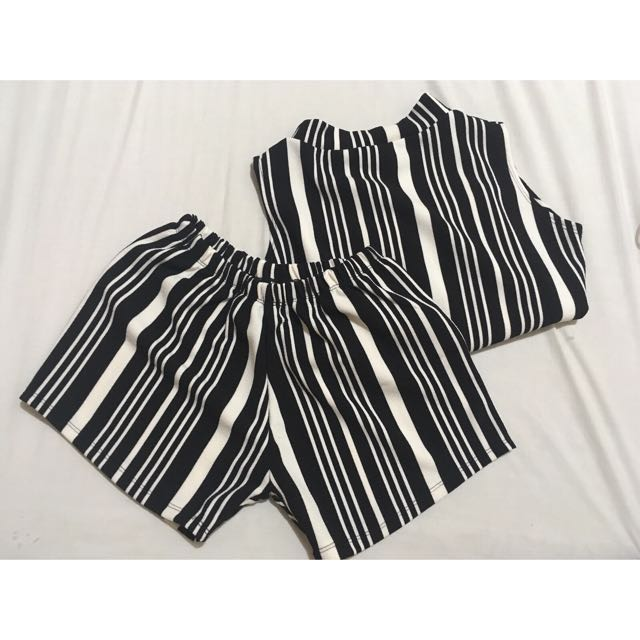 Black & white Striped Terno