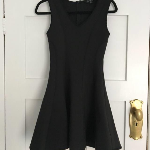 Black Neoprene Skater Dress