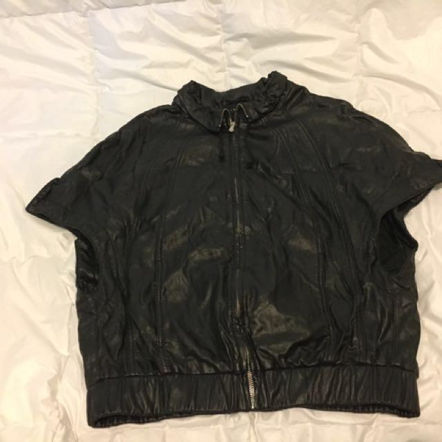 Black Pleather Capped-Sleeve Jacket