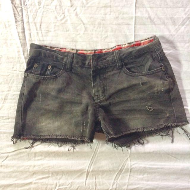 Black tattered shorts
