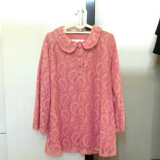blouse brukat pink