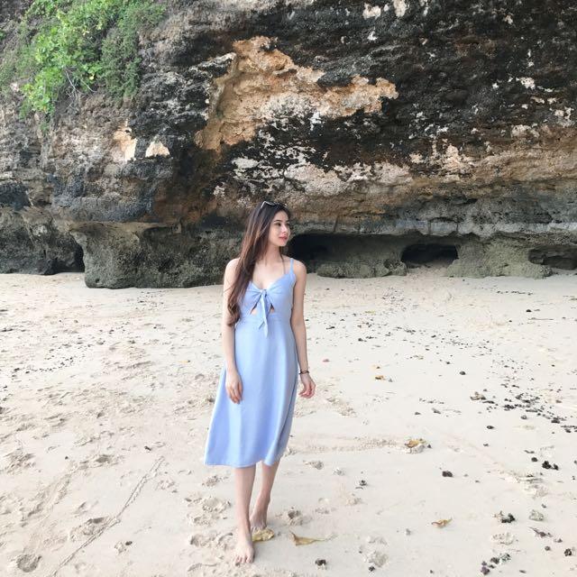Blue dress a line