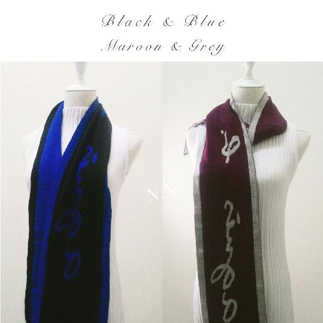 BNWT AUTH • •Agnés b. Black & Blue Winter Scarf