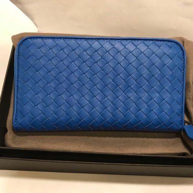 正品Bottega Veneta BV 矢車菊藍色拉鍊長夾