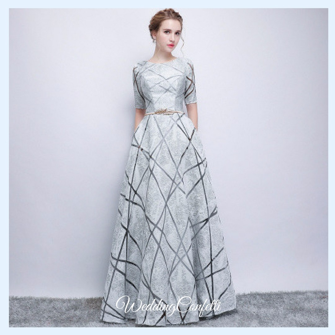 Brand New* Eliza Wedding Bridal Red / White / Grey Long Sleeves Gown ...