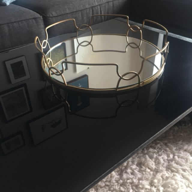 Brushed gold accent tray