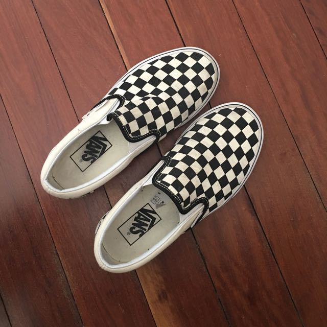 Checkerboard slip-on vans size 6.5 womens