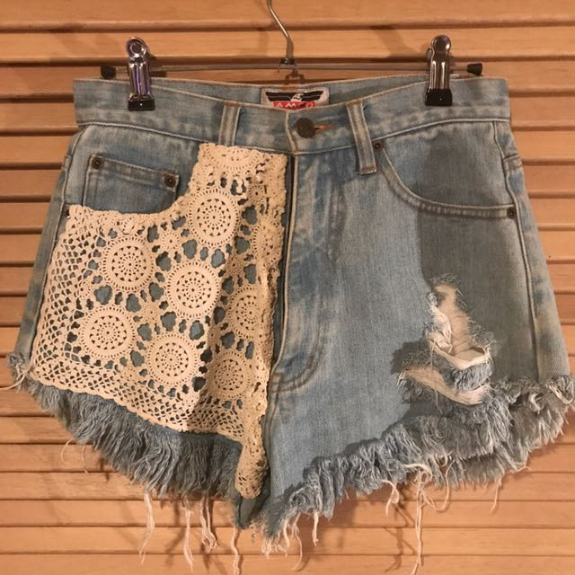 Crochet styled high waisted shorts
