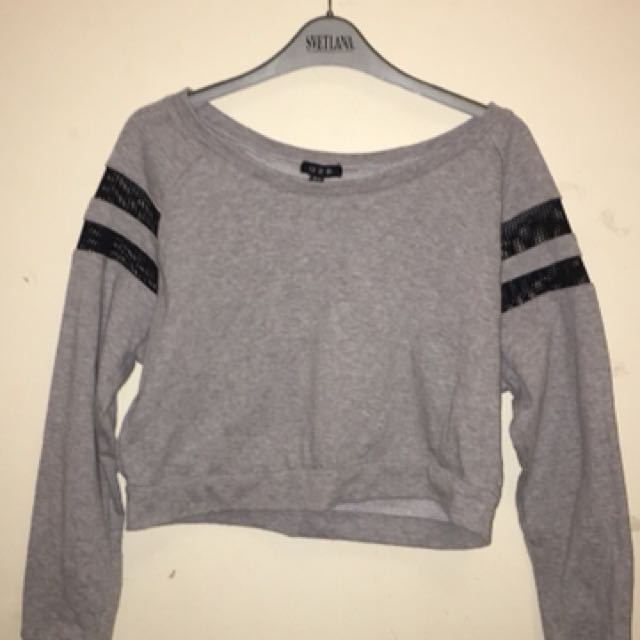Cropped grey sweater