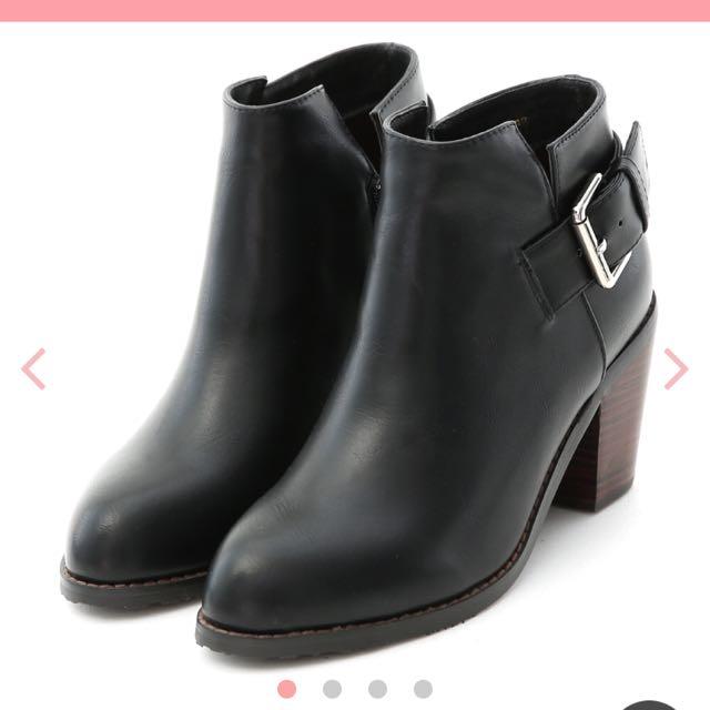 D+af扣環粗跟高跟短靴 黑色39 只穿一次
