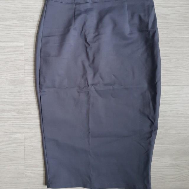 Dark grey/blue midi skirt