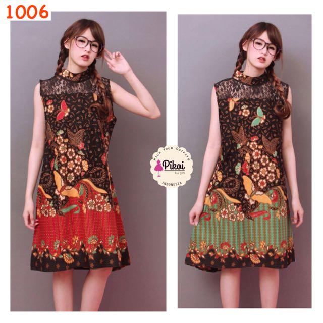 Dress Batik Modern tanpa lengan / Dress Batik Pesta / Brukat batik / 1006
