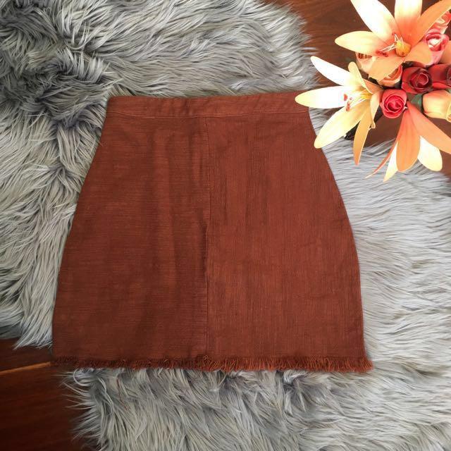 Ebby And I Rust A Line Frayed Mini Skirt Size S