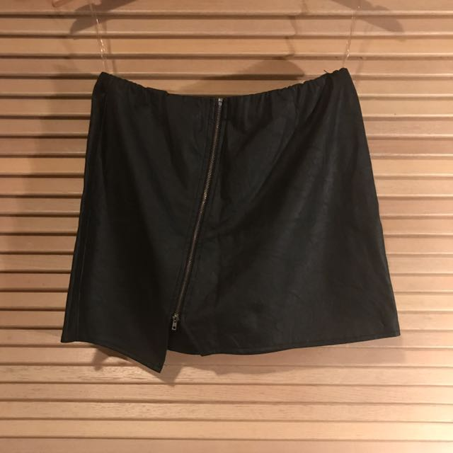 Faux leather black skirt