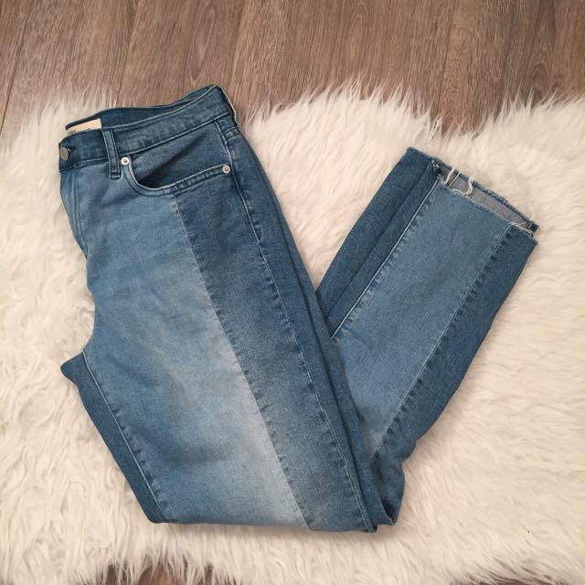 Gap Two Tone Step Hem Girlfriend Jeans