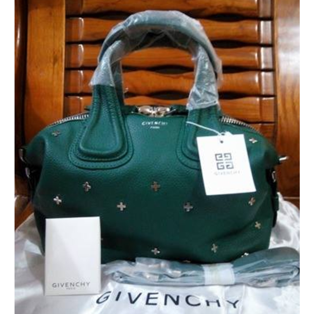 ab13046ee662b GIVENCHY Nightingale Micro Leather Satchel Bag W/Metal Cross- Green/ FIXED  PRICE on Carousell